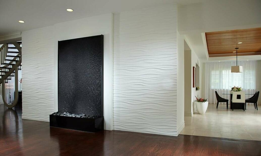 Black Scored Acrylic Waterfall in private Residence in Miami